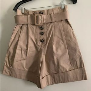 450$ SELF-PORTRAIT CAMEL CANVAS SHORTS US 4 Small